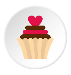 Valentine cupcake icon circle vector