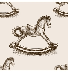 Vintage rocking horse sketch seamless vector