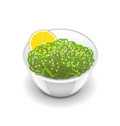 Wakame salad isolated on white vector image