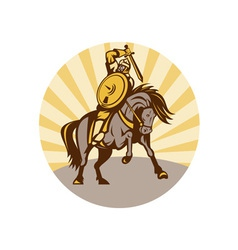 Warrior with shield and sword on horse vector