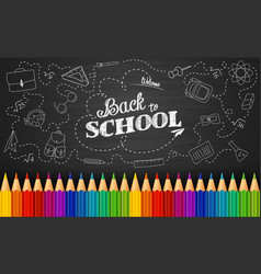 Welcome back to school with colored pencils vector