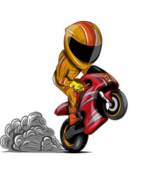 wheelies biker motorcycle vector image