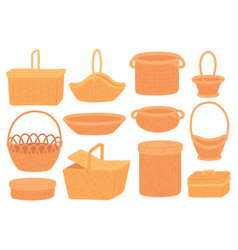 wicker baskets empty straw basket for picnic vector image