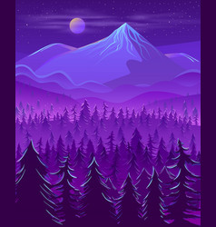 wild northern land night landscape cartoon vector image