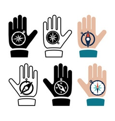 Compass in hand flat icons vector