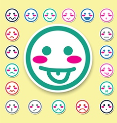 Emotion faces icons set vector