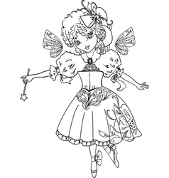 Fairy Cartoon Outline drawing vector image vector image