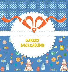 Funny background for the bakery with pattern vector image vector image