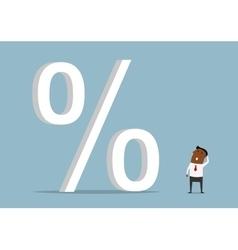 Black businessman with huge credit percents vector image