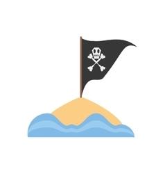 black pirate flag with skull bone sand sea vector image