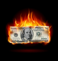 Burning dollar on a black background for design vector