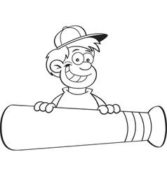 Cartoon smiling boy behind a large baseball bat vector image vector image