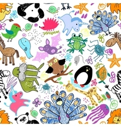 Childrens drawings seamless pattern with animals vector image