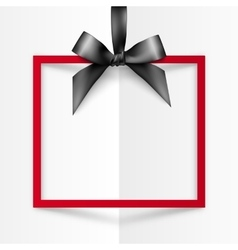 Red gift box frame with black silky bow and ribbon vector image