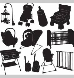 baby silhouettes vector image vector image