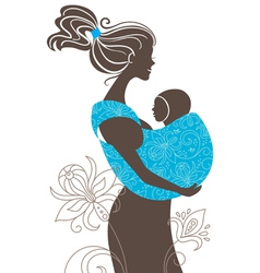 beautiful mother silhouette vector image vector image