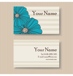 business floral card with blue flowers vector image
