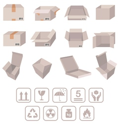 cardboard boxes with signs vector image vector image