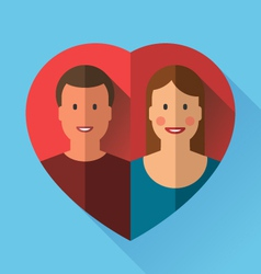 Couple of lovers in heart flat vector image