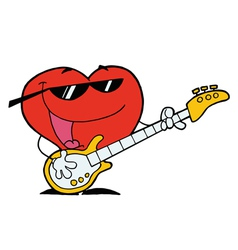 Heart Man Playing Guitar vector image