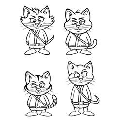 kitten ninjas lineup outline vector image vector image