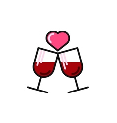 love card with two wine glasses vector image