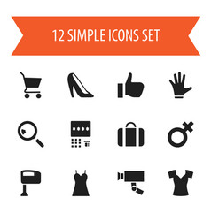 set of 12 editable shopping icons includes vector image vector image
