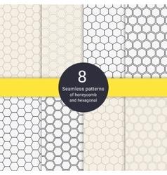 Set of 8 hexagonal honeycomb line style seamless vector image