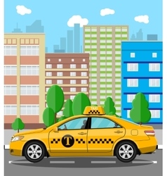Urban cityscape with taxi cab vector image