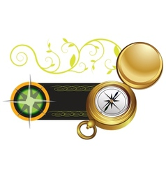 banner with a compass and wind rose vector image