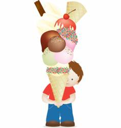 boy and huge ice cream vector image vector image