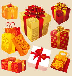 gift boxes with red and gold ribbons vector image