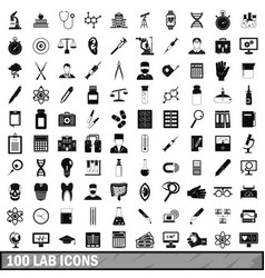 100 lab icons set simple style vector