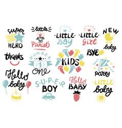 14 children logo with handwriting vector