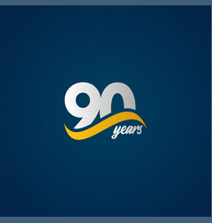 90 years anniversary celebration elegant white vector