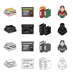 A bookstore a stack of books in the library a vector