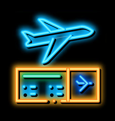 Airplane ticket neon glow icon vector