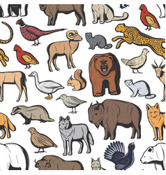 animals and birds seamless pattern hunting sport vector image