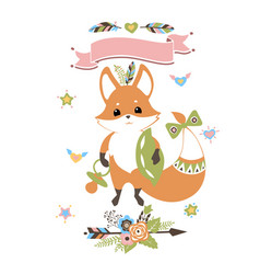 Baby fox standing with pillow and soother vector