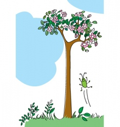 blossoming tree vector image vector image