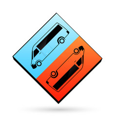 Blue and orange color icon clear template cube bus vector