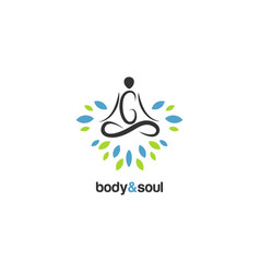 Body and soul meditation logo sign symbol logo vector