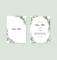 botanical wedding invitation card template design vector image