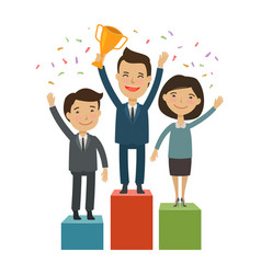 Business people on the pedestal success vector