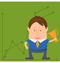 Businessman Cartoon with a Trophy vector