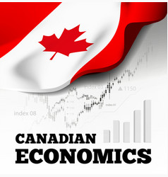canadian economics with canada flag vector image