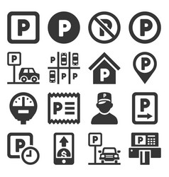car parking icons set on white background vector image
