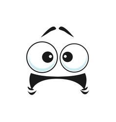 Cartoon face icon frightened funny emoji vector