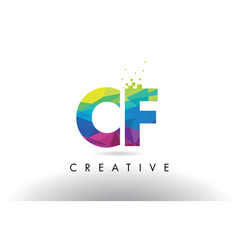 Cf c f colorful letter origami triangles design vector
