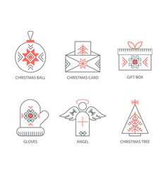 christmas icons outline vector image